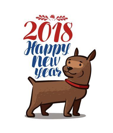 2018 Happy New Year. Animal, dog, pet. Cartoon vector illustration isolated on white background