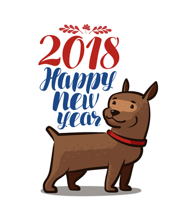 2018 Happy New Year. Animal, dog, doggie, pet. Cartoon vector illustration