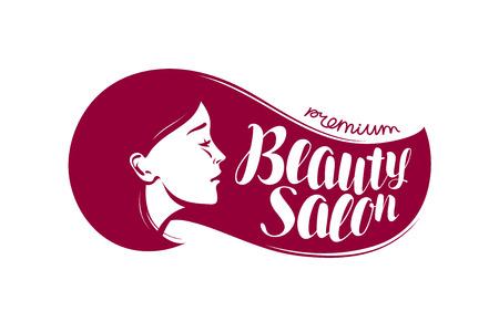Beauty salon, logo or label. Makeup, makeover, cosmetic, fashion icon. Typographic design vector illustration Illustration