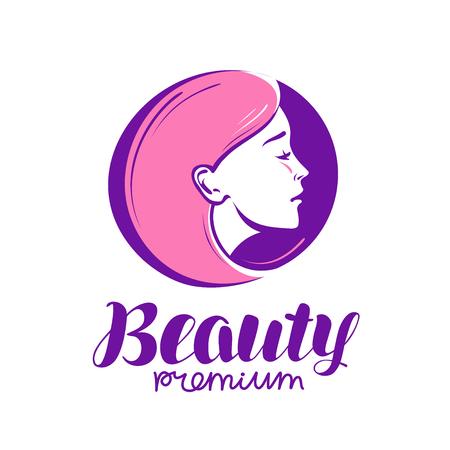 Beauty shop or salon logo. Makeup, cosmetic, spa icon. Vector illustration Illustration