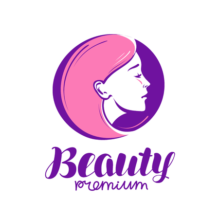 Beauty shop or salon logo. Makeup, cosmetic, spa icon. Vector illustration Illustration