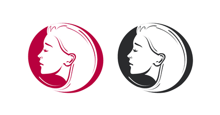 Beauty shop, salon, barbershop logo. Portrait of beautiful young woman or girl icon. Vector illustration
