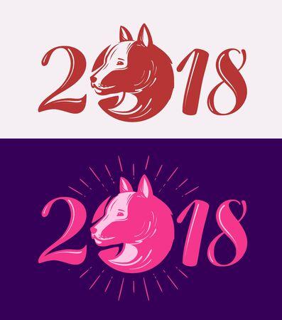 2018, Happy New Year. Dog symbol. Typographic design vector illustration