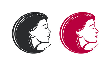 Beauty salon, spa, barbershop logo. Beautiful young woman label or icon. Vector illustration Stock Photo