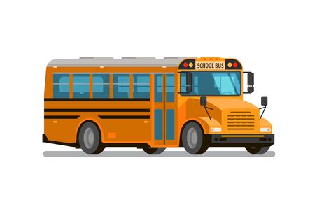 Autobús escolar. Estilo plano, ilustración vectorial aislado sobre fondo blanco