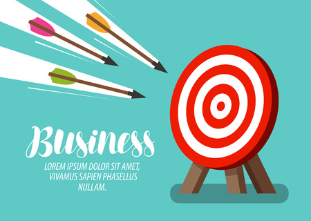 Target and flying arrows. Business concept. Vector illustration Vetores