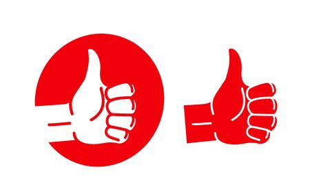Hand thumb up, logo. Best quality symbol or icon. Vector illustration
