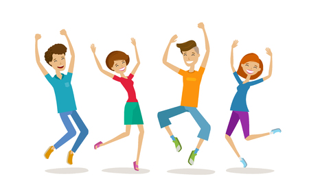 Happy young people, teenagers. Partying, cartoon vector illustration