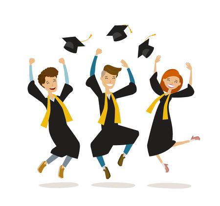 Felices graduados o estudiantes tiran sombreros. Educación, colegio, concepto de escuela. Vector de dibujos animados