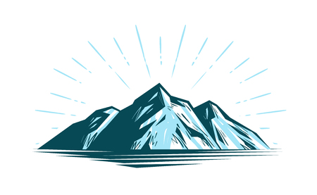 Mountain landscape, rock nature vector illustration.