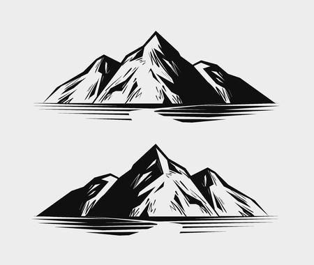 Mountain range or rock. Nature, environment vector illustration
