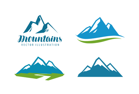 Mountains, rock logo or label. Mountaineering, climbing, alpinism icon. Vector illustration