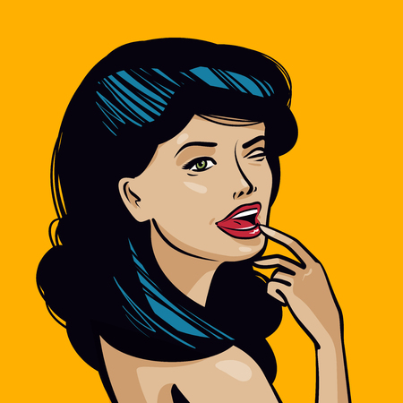 Portrait of beautiful young woman. Pin-up concept. Vintage art comic, vector illustration Ilustrace