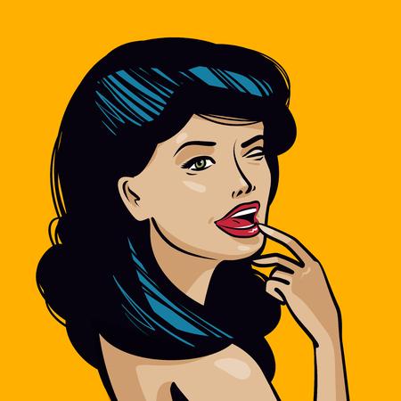 Portret van mooie jonge vrouw. Pin-up concept. Vintage kunst komische, vectorillustratie