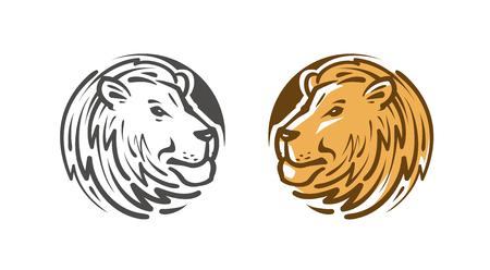 Lion logo or emblem. Wildlife, animal icon or label. Vector illustration isolated on white background