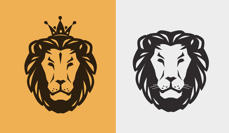 Lion icon or emblem. Animal, wildlife icon. Vector illustration isolated on white background. Illustration