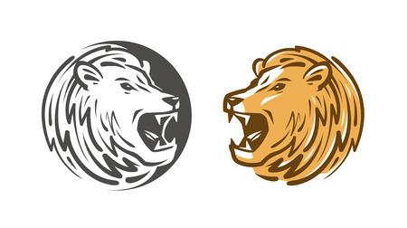 Lion roars design or label. Animal, wildlife emblem. Vector illustration