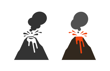 Spewing volcano icon or symbol. Vector illustration isolated on white background