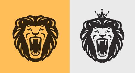 Lion roaring label. Animal, wildlife icon vector illustration.