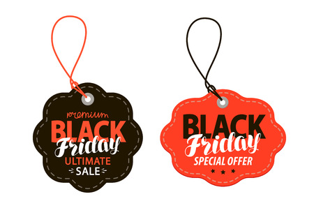 Black Friday, sales tag. Shopping, offer, discount concept. Vector illustration isolated on white background.
