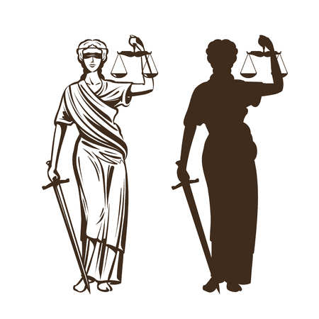 Goddess of justice. Themis with blindfold, scales and sword in hands. Vector illustration isolated on white background. Stock Illustratie
