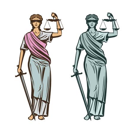 Rechterlijke macht symbool. Vrouwe Justitia met blinddoek, schalen en zwaard in handen. Vector illustratie