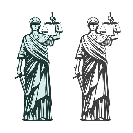 Judiciary symbol. Lady justice with blindfold, scales and sword in hands. Sketch vector illustration