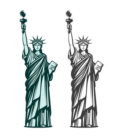 Statue of liberty. Symbol of New York or USA. Vector illustration