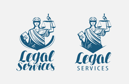 Legal services logo. Notary, justice, lawyer icon or symbol Vector Stock Illustratie