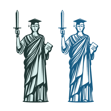 Judiciary, education symbol. Notary, justice, lawyer icon. Vector illustration