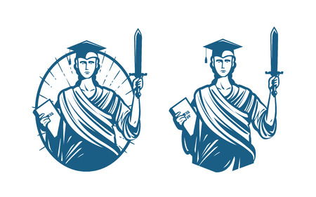 Education, legal services logo. Notary, justice, lawyer icon or symbol. Vector illustration