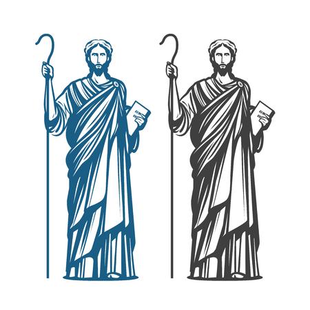 Gesù Cristo di Nazaret. Dio, Messia, simbolo della religione. Illustrazione vettoriale Vettoriali