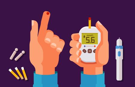Diabetes, concepto de salud. Alto nivel de azúcar en la sangre. Glucómetro, ilustración de vector de dibujos animados de medidor de glucosa