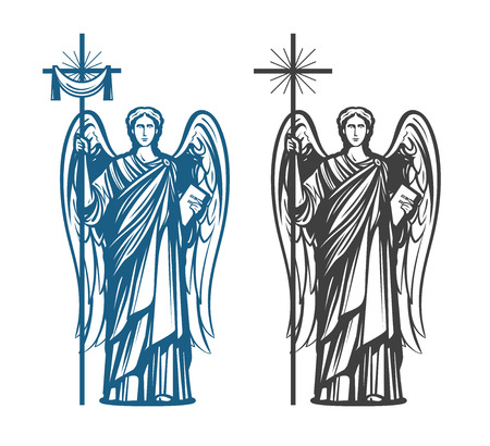 Angel, Archangel with wings. Bible, religion, belief, worship concept. Vintage sketch vector illustration