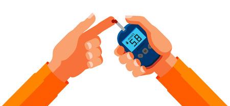Diabetes, blood glucose test. Medicine, health concept. Cartoon vector illustration Vettoriali