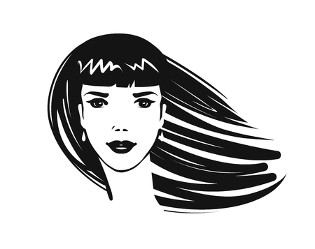 Portrait of beautiful girl, young woman with long hair. Beauty salon, spa, makeup, fashion, logo or symbol. Art sketch vector illustration