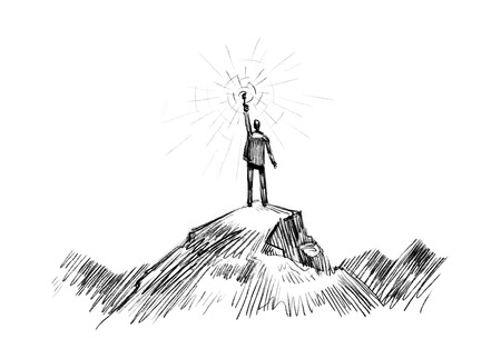 Man stands on top of mountain with torch in hand. Business, success, achievement concept Stock Photo