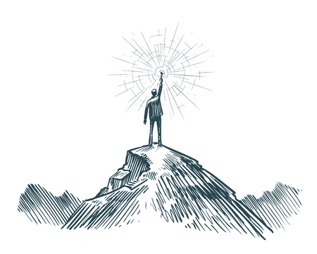 Man stands on top of mountain with torch in hand. Business, achieving goal, success, discovery concept. Sketch vector illustration Stock Photo