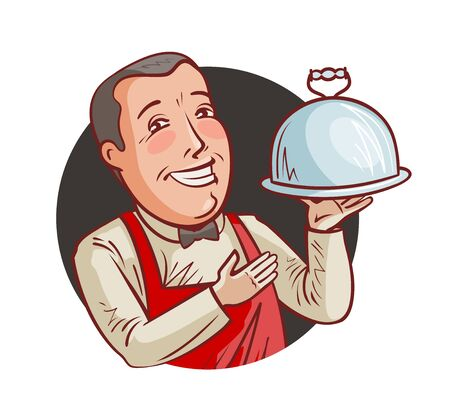 Happy waiter with tray in hand. Restaurant, eatery, food concept. Cartoon vector illustration