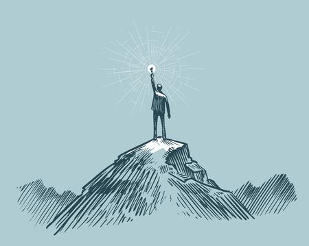 Businessman, traveler or man standing on peak mountain. Sketch vector illustration