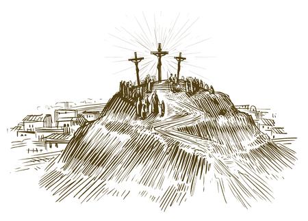 Kruisiging Jezus Christus, Zoon van God. Schets vectorillustratie Stock Illustratie