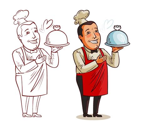 Chef drôle avec plateau à la main. Restaurant, cuisine, concept alimentaire. Illustration de vecteur de dessin animé isolé sur fond blanc Banque d'images - 94098639