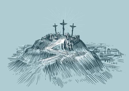Jezus aan het kruis. Art schets vector illustratie. Zet Golgotha op Stock Illustratie