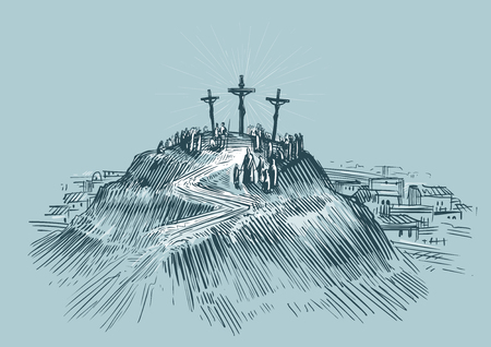 Jesus on cross. Art sketch vector illustration. Mount Golgotha Illustration