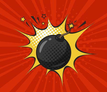 Bomba nera rotonda con miccia accesa, disegnata in stile retrò pop art. Fumetto illustrazione vettoriale