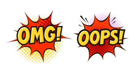 OMG, OOPS dans un style bande dessinée rétro pop art. Illustration de vecteur de dessin animé isolé sur fond blanc.