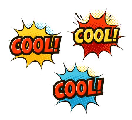 Cool typography  in pop art retro comic style. Cartoon slang vector illustration. Illustration