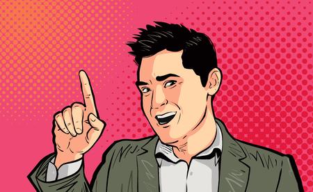 Businessman or funny guy pointing finger pop art retro. Cartoon vector illustration