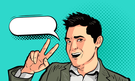 Happy businessman or young man in pop art retro comic style. Victory, success, win concept. Cartoon vector illustration