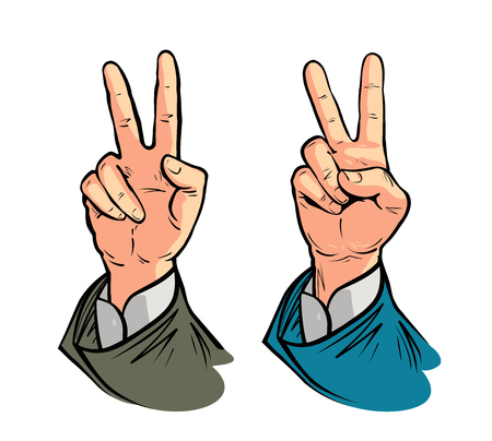 Hand gesture of victory or peace. Vector illustration in pop art retro comic style